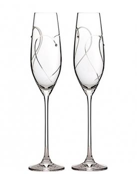 Кристални сватбени чаши Royal Daulton Two Hearts