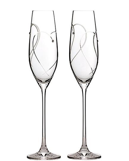 Луксозни сватбени чаши с камъни Сваровски Royal Daulton