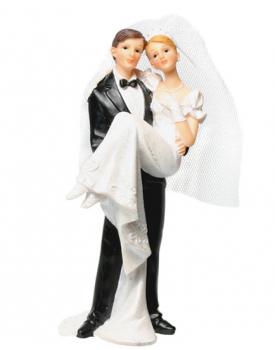 """Сватбена фигурка за торта """"Младоженец гушнал булка"""""""