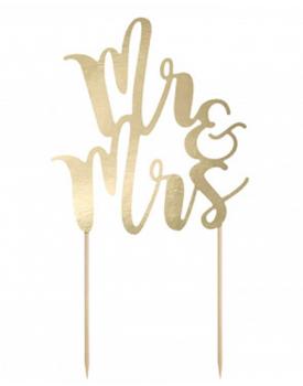 Украса за сватбена торта Mr&Mrs Gold