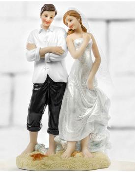 """Сватбена фигурка за торта """"Младоженци на морето"""""""