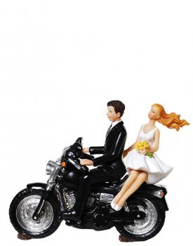 """Сватбена фигурка за торта """"Младоженци на ретро мотор"""""""