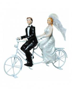 "Сватбена фигурка за торта ""Двама на колело"""