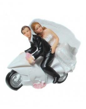 Сватбена фигурка за торта МЛАДОЖЕНЦИ НА МОТОР