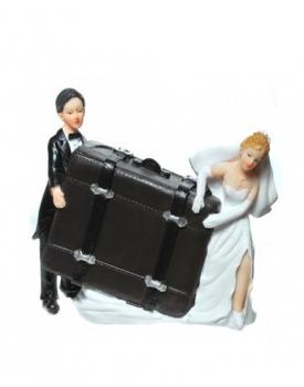 """Сватбена фигурка за торта """"Младоженци с куфар"""""""