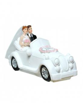 "Сватбена фигурка за торта ""Младоженци в ретро автомобил"""