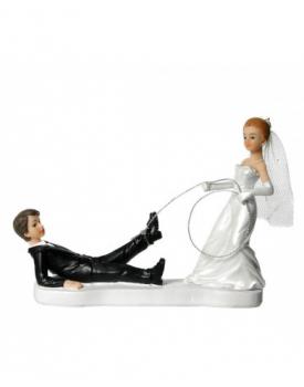 """Сватбена фигурка за торта """"Младоженец хванат с въже"""""""