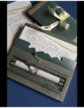 Луксозна сватбена покана в зелено и златно