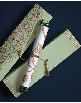 Луксозна сватбена покана в нежно зелено