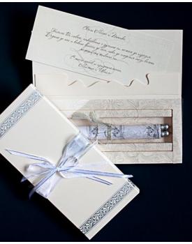 Луксозна сватбена покана в перлено бяло