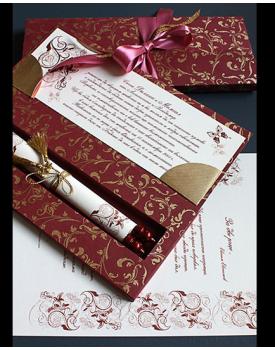 Луксозна сватбена покана в червено