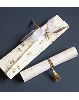 Луксозна сватбена покана злато с бяло