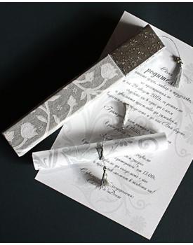 Луксозна сватбена покана кутия със сребърно капаче