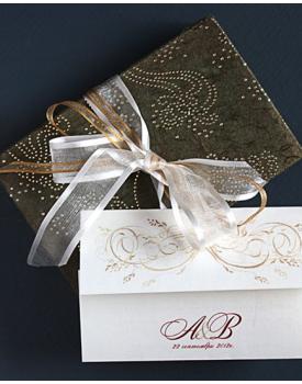 Луксозна сватбена покана с ефектна панделка
