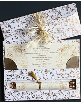 Луксозна сватбена покана със златни орнаменти