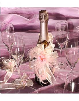 Украса за шампанско и чаши